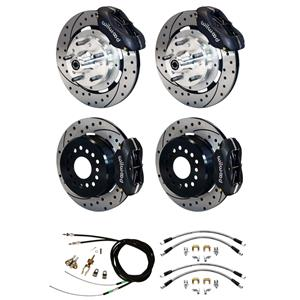 "Wilwood 65-68 Impala 4 Wheel Disc Big Brake Kit 12"" Drilled Rotor Black Caliper"