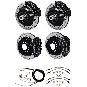 Wilwood 64-72 Chevelle 4 Wheel Disc Big Brake Kit Drilled Rotor Black Caliper
