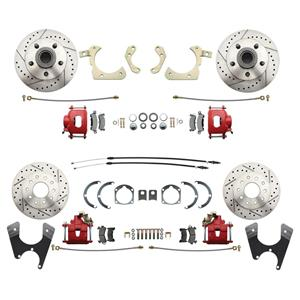 55-58 Chevy Car Front & Rear Disc Brake Wheel Kit Drilled Slotted Red Caliper