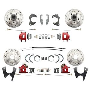 65-68 Chevy Car Front & Rear Disc Brake Wheel Kit Drilled Slotted Red Caliper