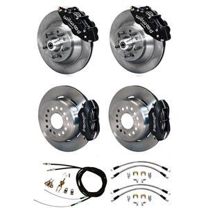 Wilwood 73-77 El Camino 4 Wheel Disc Brake Kit Plain Rotor Black Caliper
