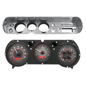 Dakota Digital 65 Chevy Chevelle VHX Analog Gauges Carbon Red w/ Carrier