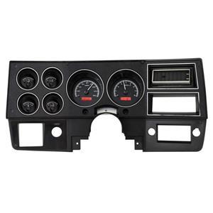 73-87 Chevy GMC Pickup Truck VHX Dash Gauges System Black Alloy Red VHX-73C-PU
