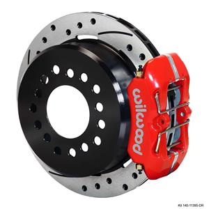 "Wilwood Dana 60 8-3/4, 9-3/4 Rear Disc Brake Kit 11"" Drilled Rotor Red Caliper"