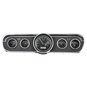 Dakota Digital 65-66 Ford Mustang Analog Gauges Black White VHX-65F-MUS-K-W