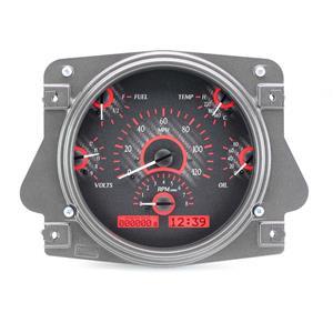Dakota Digital 66-77 Ford Bronco Analog Gauges Carbon Fiber Red VHX-66F-BRO-C-R