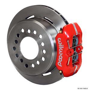 """Wilwood 55-57 Bel Air Rear Disc Brake Kit 11"""" Plain Rotor Red Caliper"""