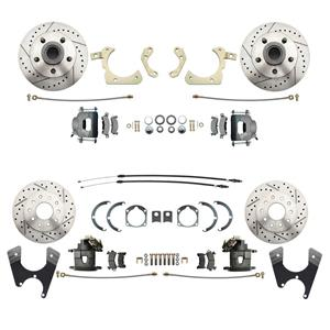 55-58 Chevy Car Front & Rear Disc Brake Wheel Kit Drilled Slotted Raw Caliper