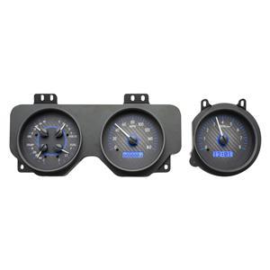 Dakota Digital 70-72 Pontiac GTO Analog Gauges Carbon Fiber Blue VHX-70P-GTO-C-B