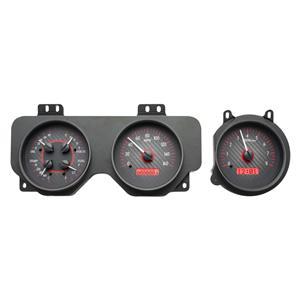 Dakota Digital 70-72 Pontiac GTO Analog Gauges Carbon Fiber Red VHX-70P-GTO-C-R