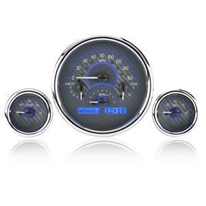 Triple Round Universal VHX System, Carbon Fiber Face - Blue Display