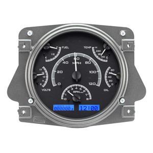 Dakota Digital 66 - 77 Ford Bronco VHX System Analog Dash Gauges Black Alloy Blue VHX-66F-BRO-K-B