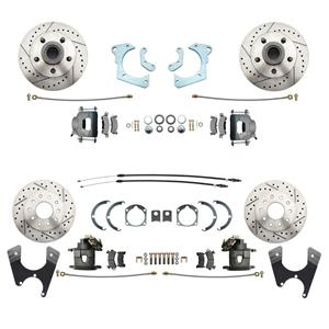59-64 Chevy Car Front & Rear Disc Brake Wheel Kit Drilled Slotted Raw Caliper