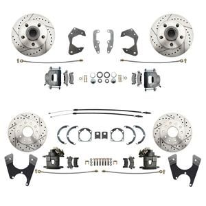 65-68 Chevy Car Front & Rear Disc Brake Wheel Kit Drilled Slotted Raw Caliper