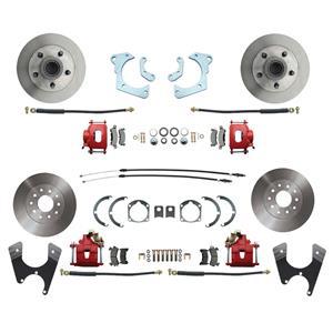 59-64 Chevy Car Front & Rear Disc Brake Wheel Kit Standard Rotor Red Caliper