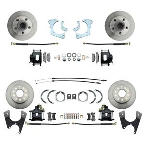59-64 Chevy Car Front & Rear Disc Brake Wheel Kit Standard Rotor Black Caliper