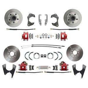 65-68 Chevy Car Front & Rear Disc Brake Wheel Kit Standard Rotor Red Caliper
