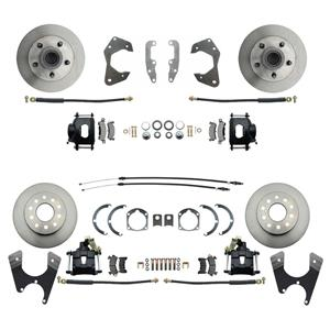 65-68 Chevy Car Front & Rear Disc Brake Wheel Kit Standard Rotor Black Caliper