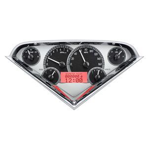 Dakota Digital 55-59 Chevy Pickup VHX Analog Gauges Silver Alloy Red w/ Carrier