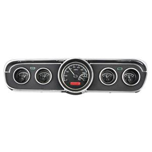 Dakota Digital 65-66 Ford Mustang VHX Analog Gauges Black Alloy Red w/ Carrier