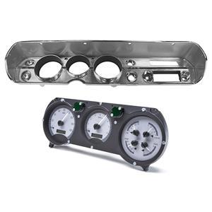 Dakota Digital 65 Chevy Chevelle VHX Analog Gauges Silver White w/ Carrier