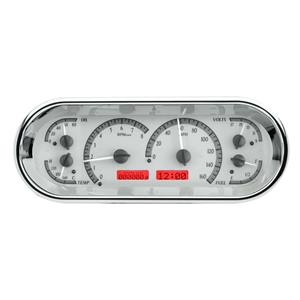 Rounded Rectangle VHX System, Satin Alloy Style Face, Red Display