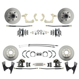 55-58 Chevy Car Front & Rear Disc Brake Wheel Kit Standard Rotor Raw Caliper