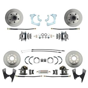 59-64 Chevy Car Front & Rear Disc Brake Wheel Kit Standard Rotor Raw Caliper