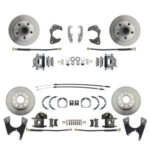 65-68 Chevy Car Front & Rear Disc Brake Wheel Kit Standard Rotor Raw Caliper