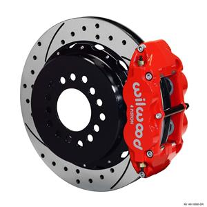 "Wilwood Rear Disc Big Brake Kit C10 Rear End w/ 2.42"" Offset Drilled Red Caliper"