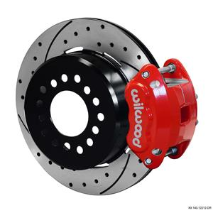 "Wilwood Rear Disc Brake Kit Ford 9"" Small Bearing w/ 2.50"" Offset Drilled Red"