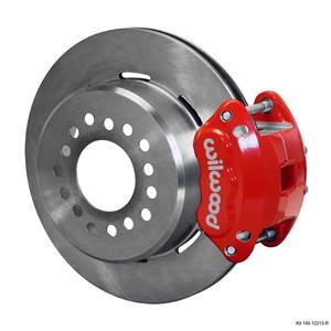 """Wilwood Rear Disc Brake Kit Ford 9"""" Big Bearing w/ 2.36"""" Offset Plain Rotor Red"""