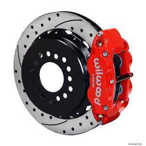 """Wilwood Ford Rear Disc Big Brake Kit 9"""" Big Bearing w/ 2.36"""" Offset Drilled Red"""