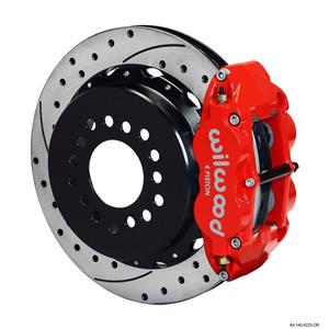 "Wilwood Rear Disc Big Brake Kit Ford 8.8 w/ 2.50"" Offset Drilled Rotor Red"