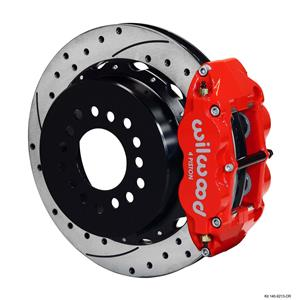 """Wilwood Chevy 10/12 Bolt 2.81"""" Offset Rear Disc Brake Kit 12.88"""" Rotor Drill Red"""