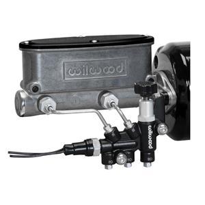 """Wilwood 7/8"""" Tandem Aluminum Master Cylinder Natural w/ Proportioning Valve"""