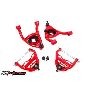 """UMI Performance 403133-1-R GM A-Body Upper and Lower Control Arm Kit 1/2"""" Taller Up Ball Joint - Red"""