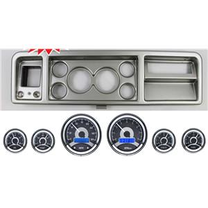 "73-79 Ford Truck Silver Dash Panel w/ Dakota Digital 3 3/8"" VHX-1060 Gauges"