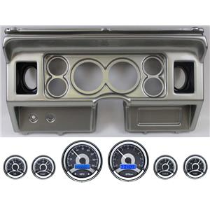 "80-86 Ford Truck Silver Dash Carrier w/ Dakota Digital 3-3/8"" VHX-1060 Gauges"