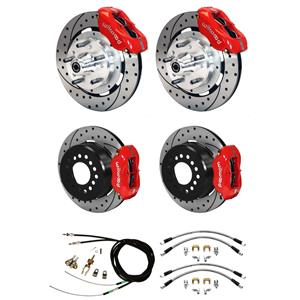 "Wilwood 70-73 Mustang 4 Wheel Disc Big Brake Kit 12"" Drilled Rotor Red Caliper"