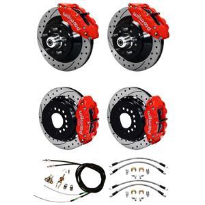 """Wilwood 73-77 El Camino 4 Wheel Disc Brake Kit 13"""" Drilled Rotor Red Caliper"""
