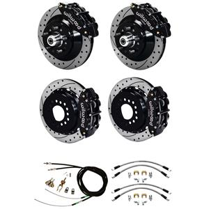 "Wilwood 70-78 Camaro 4 Wheel Disc Brake Kit 13"" Drilled Rotor Black Caliper"