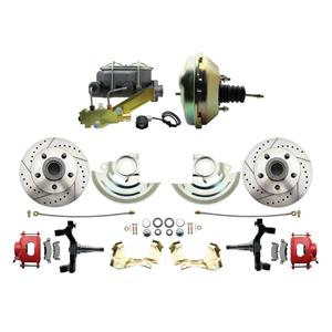 """64-72 A-body Front Power Disc Brake 9"""" Drilled Slotted Red Caliper 2"""" Drop"""