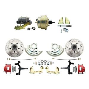 """F/X Body Front Power Disc Brake 8"""" Drilled Slotted Red Caliper 2"""" Drop"""