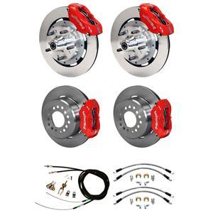 """Wilwood 73-77 El Camino 4 Wheel Disc Brake Kit 12"""" Plain Rotor Red Caliper"""
