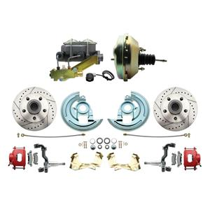 """64-72 A-body Front Power Disc Brake 9"""" Drilled Slotted Red Caliper Stock Height"""