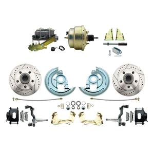 """64-72 Abody Front Power Disc Brake 8"""" Drilled Slotted Black Caliper Stock Height"""