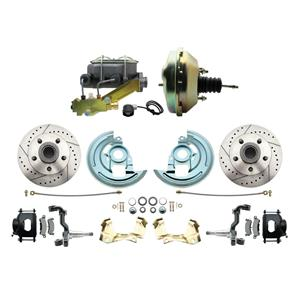 """64-72 A-body Front Power Disc Brake 9"""" Drilled Slotted Black Caliper Stock Heigh"""