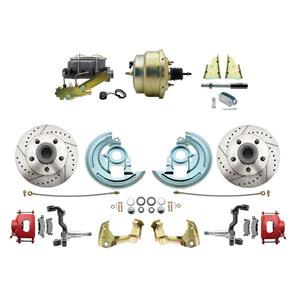 """F/X Body Front Power Disc Brake 8"""" Drilled Slotted Red Caliper Stock Height"""