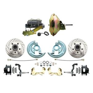 67-72 Abody Front Power Disc Brake 11 Drilled Slotted Black Caliper Stock Height